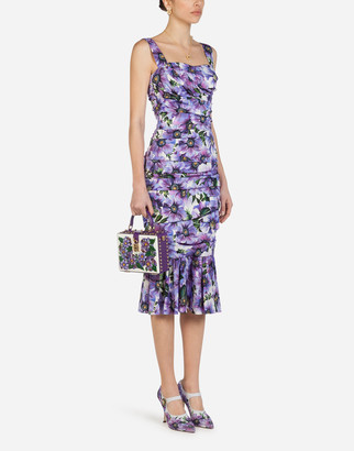Dolce & Gabbana Sleeveless Longuette Dress In Charmeuse With Anemone Print