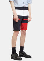 Thom Browne Men's Painted Canvas Striped Shorts In Navy, Red And White