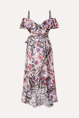 Temperley London Ruffled Printed Hammered Silk-satin Midi Dress - Purple