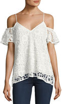Likely Arrondi Floral Guipure Lace Cold-Shoulder Top