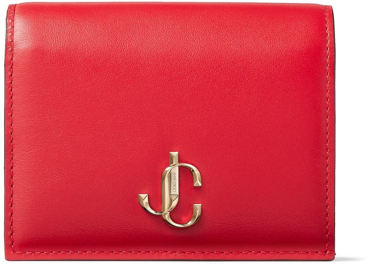 Jimmy Choo HANNE Royal Red Smooth Calf Leather Wallet with JC Emblem