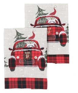 """Manor Luxe Santa Claus Riding on Car Christmas Decorative Towels 14"""" x 22"""", Set of 2 Bedding"""
