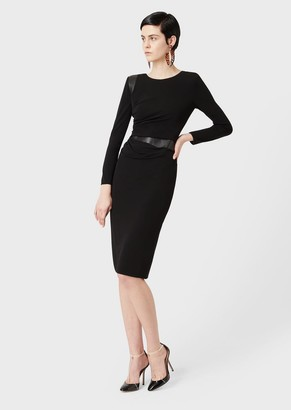 Giorgio Armani Dress With Draping And Leather Inserts