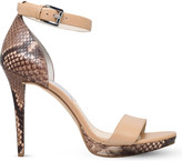 MICHAEL Michael Kors Sienna snake-embossed leather heeled sandals