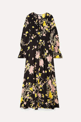 Diane von Furstenberg Floral-print Silk Crepe De Chine Maxi Dress - Black