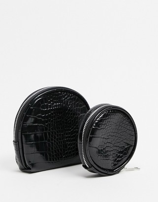 SVNX 2 pack cosmetic bags in black croc