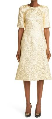Dolce & Gabbana Metallic Floral Jacquard Dress