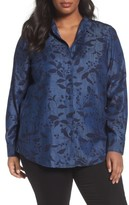 Foxcroft Plus Size Women's Addison Floral Print Tencel Shirt
