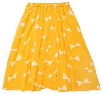 Bobo Choses Little Girl's & Girl's Bow-Print Wrap Midi Skirt