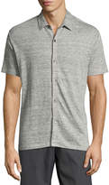 Theory Zephyr Linen Knit Button-Front Shirt, Gray