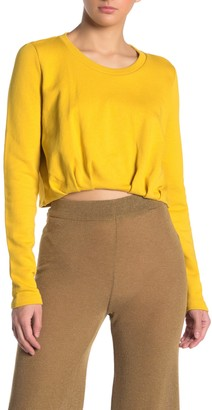 Noisy May Cropped Pleated Sweatshirt