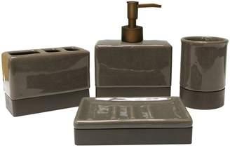 Mon Tex Four-Piece Crackle Ceramic Bath Set