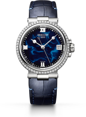 Breguet La Marine 33.8mm Diamond Blue Lacquer Watch w/ Alligator Strap