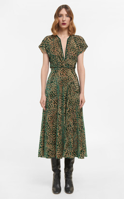 Costarellos Sasha Flocked Leopard Velvet Devore Dress With Flutter Sleeves