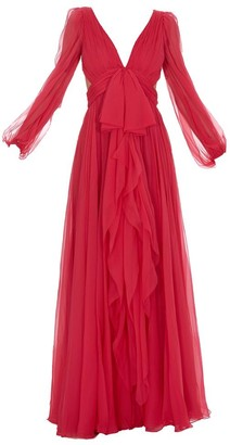 Alexander McQueen Bow Belted Draped Gown