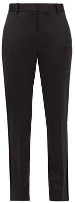 Bella Freud Rocker Tapered Wool-blend Tuxedo Trousers - Womens - Black