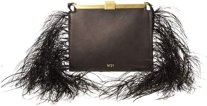 No.21 No. 21 Leather and Feather Frame Pouch Bag