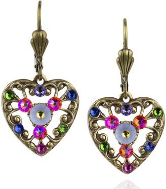 Swarovski Anne Koplik Crystal Heart & Lace Earrings