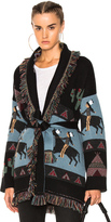 ALANUI Oversized Jacquard Cashmere Cardigan in Abstract,Black,Blue.