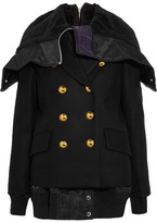 Sacai Faux Shearling And Shell-trimmed Melton Wool Jacket - Black
