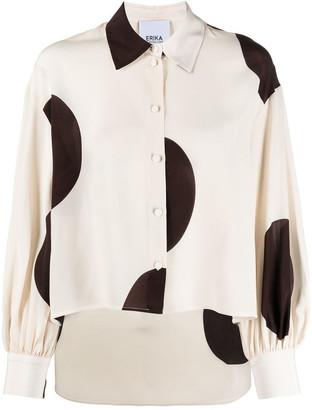 Erika Cavallini Silk Maxi Polka Dot Shirt