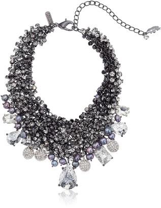 Badgley Mischka Crystal & Pearl Bib Choker Necklace