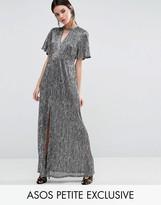 Asos Metallic Maxi Dress with Cut Out Neck & Thigh Split