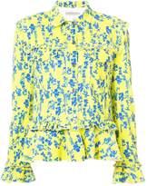 Preen by Thornton Bregazzi floral print denim jacket with frill trim