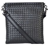 Bottega Veneta Men's Black Leather Messenger Bag.