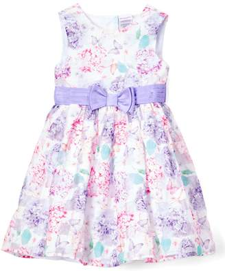 Nannette Kids Girls' Special Occasion Dresses LILAC - Lilac Floral-Check Bow-Waist Sleeveless Dress - Toddler