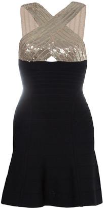 Herve Leger Black Crossover Sequin Embellished Bandage Dress XS