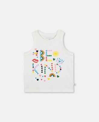 Stella McCartney jersey tank with be kind print