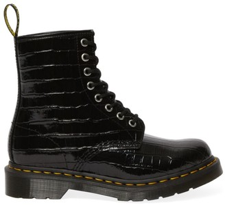 Dr. Martens 1460 Croc-Embossed Patent Leather Combat Boots