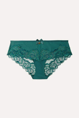 Chantelle Orangerie Lace-trimmed Stretch-jersey And Tulle Briefs - Green