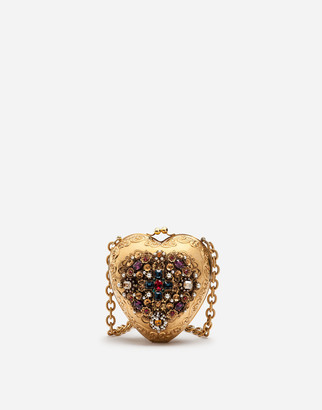 Dolce & Gabbana My Heart Metal And Filigree Bag With Jewel Embroidery