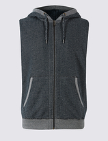 M&S Collection Pure Cotton Fleece Lined Hooded Gilet