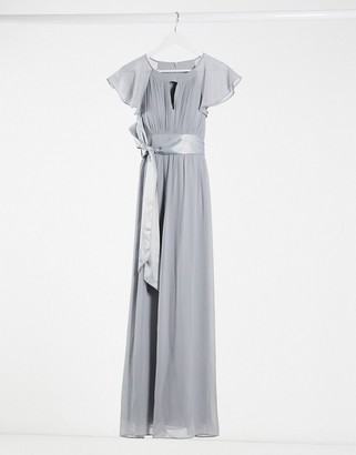 Little Mistress bridesmaid chiffon maxi dress with cap sleeve and key whole in grey