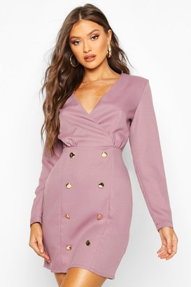 boohoo Collarless Blazer Dress With Button Detail