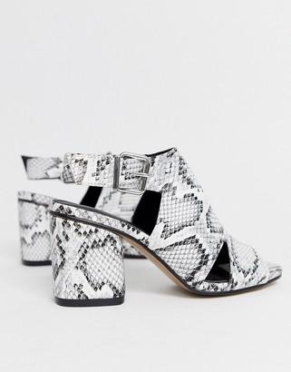 Park Lane buckle heeled sandals in snake
