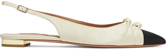 Aquazzura Mondaine Two-tone Grosgrain Slingback Point-toe Flats
