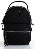Moncler Black Nylon Silver Tone Leather Trim Georgette Mini Backpack