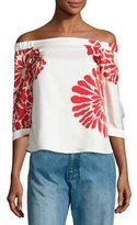 Tibi Orla Bloom Off-the-Shoulder Silk Top