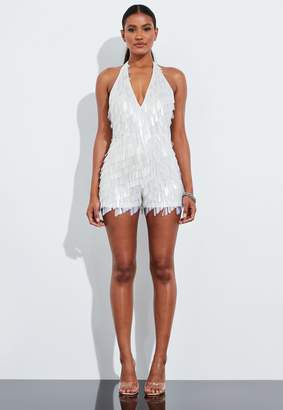 Missguided White Linear Sequin Fringe Halterneck Playsuit
