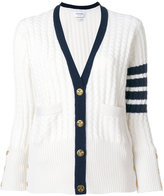 Thom Browne Tennis Collection baby cable V-neck cardigan - women - Cashmere - 40