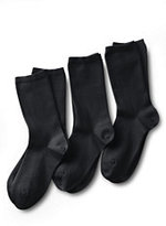 Classic Women's Seamless Toe Solid Cotton Blend Crew Socks (3-pack)-Black
