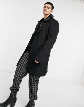 ASOS DESIGN wool mix overcoat with fur collar in black