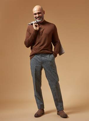 Tu PREMIUM Tobacco Brown Merino Wool Polo Jumper
