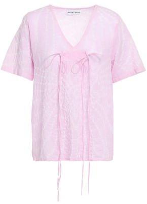 Antik Batik Khula Tie-dyed Crinkled Cotton-gauze Top