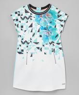 Sean John Aqua Mist Floral Zip-Accent Shift Dress - Girls