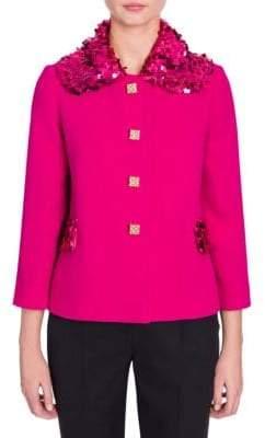 Dolce & Gabbana Dolce& Gabbana Women's Sequin Collar Crepe Jacket - Fuchsia - Size 38 (2)